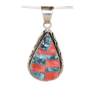 Turquoise & Spiney Oyster Shell Sterling Silver Pendant