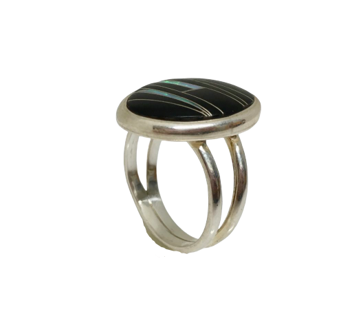 Inlay Onyx Ring with Lab Created Opal Accents