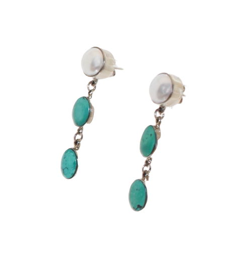 Turquoise and Pearl Post Earrings