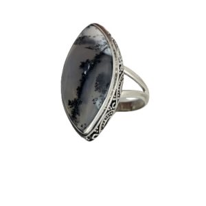 Marquise Dendritic Opal Ring