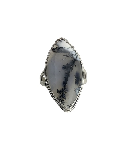 Dendritic Opal Ring marquise